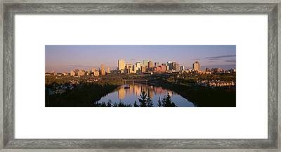 Reflection Of Downtown Buildings Framed Print