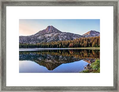 Reflection Of Gunsight Mountain Framed Print by Robert Bales