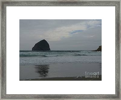 Reflection Of Haystock Rock  Framed Print by Susan Garren