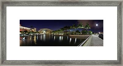 Reflection Of Lights On Water, Puerto Framed Print