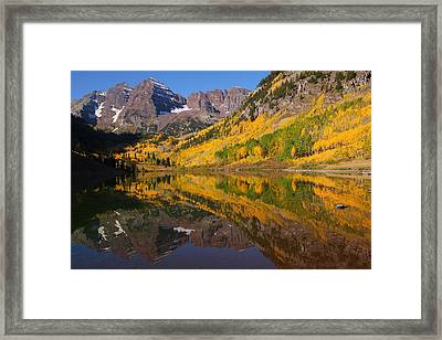 Reflection Of Maroon Bells During Autumn Framed Print