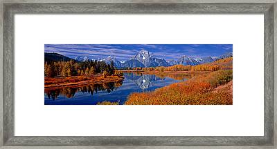 Reflection Of Mountains In The River Framed Print by Panoramic Images