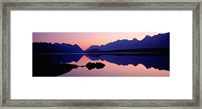 Reflection Of Mountains In Water, Upper Framed Print