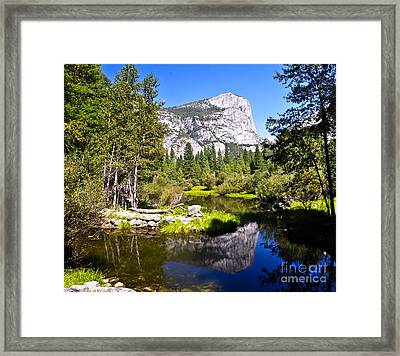 Reflection Of Mt Watkins In Mirror Lake Located In Yosemite National Park Framed Print by Camille Lyver