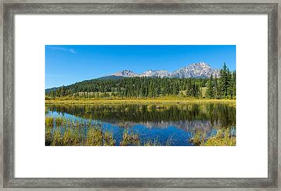 Reflection Of Pyramid Mountain Framed Print