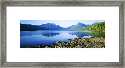 Reflection Of Rocks In A Lake, Mcdonald Framed Print by Panoramic Images
