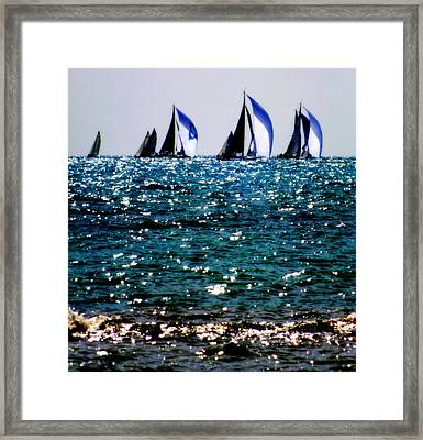 Reflection Of Sails Framed Print by Karen Wiles