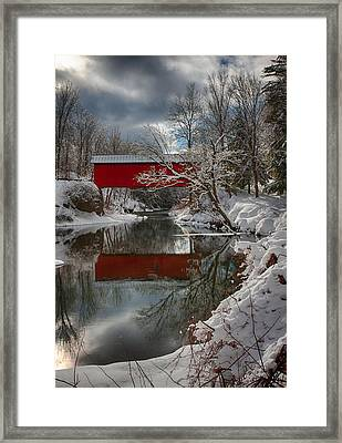 reflection of Slaughterhouse covered bridge Framed Print