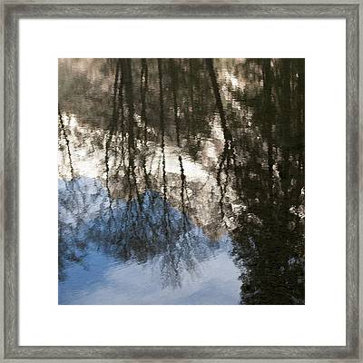 Reflection Of Trees And A Mountain Peak Framed Print