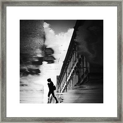 Reflection On The Street Framed Print