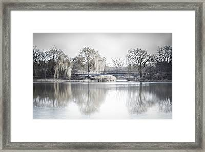 Reflection Over Lake Winter Scene Framed Print by Julie Palencia
