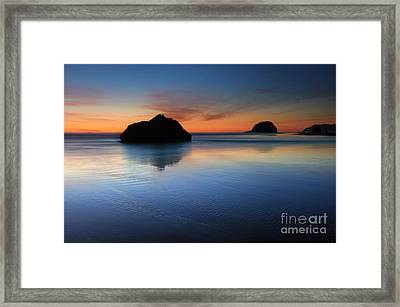 Reflections At Dusk Framed Print by Mike Dawson