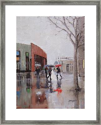 Reflections At Patriot Place Framed Print by Laura Lee Zanghetti
