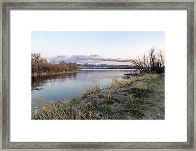 Reflections At Sunset At The Helena Reservoir Framed Print by Dana Moyer