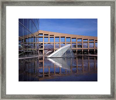 Reflections At The Library Framed Print