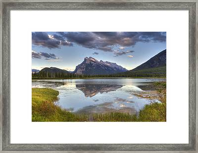 Reflections At Vermillion Lakes  Framed Print by Darlene Bushue