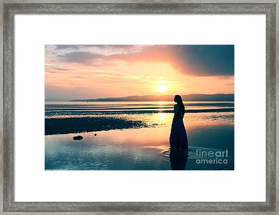 Reflections By The Sea Framed Print by Gee Lyon