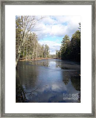 Reflections Caught On Ice At A Pretty Lake In New Hampshire Framed Print by Eunice Miller