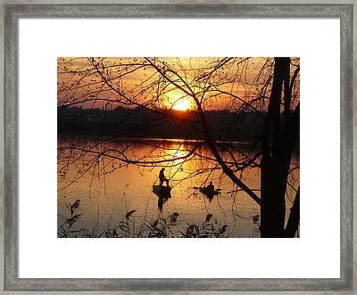 Reflections Fishermen Sunset Framed Print by Irmari Nacht