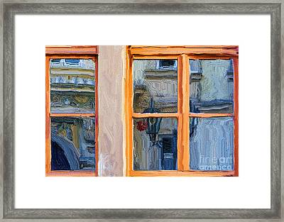 Reflections In A Window Prague Framed Print by Ted Guhl