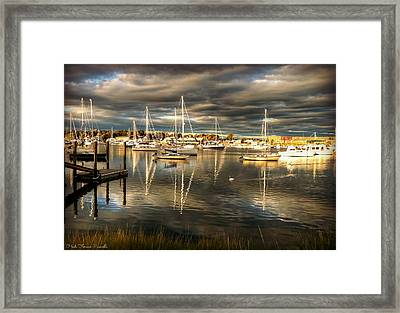 Reflections In Barrington Harbor Framed Print by Heidi Piccerelli