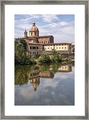 Reflections In The Arno River Framed Print by Melany Sarafis