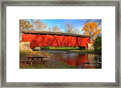 Reflections In The Conestoga River Framed Print by Adam Jewell