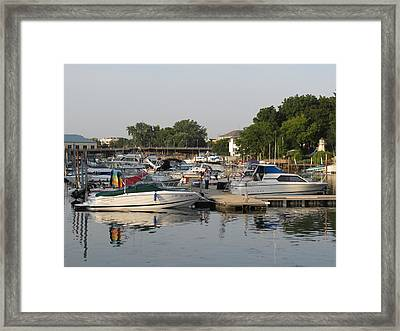 Reflections In The Small Boat Harbor Framed Print by Kay Novy