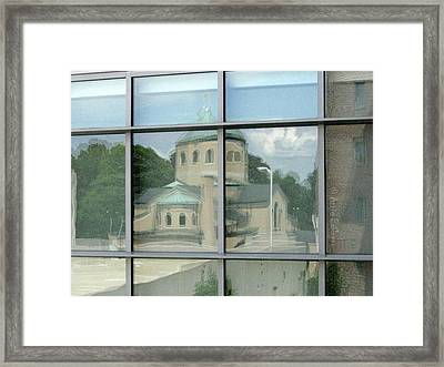 reflections in WPI window Framed Print by Anne Babineau