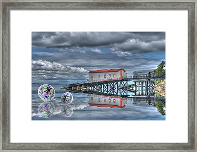 Reflections Lifeboat Houses And Smoke Cones Framed Print