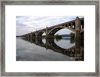 Reflections Of A Bridge Framed Print by Scott D Welch