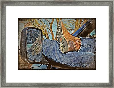Reflections Of A Cowboy's Nap Framed Print by KayeCee Spain