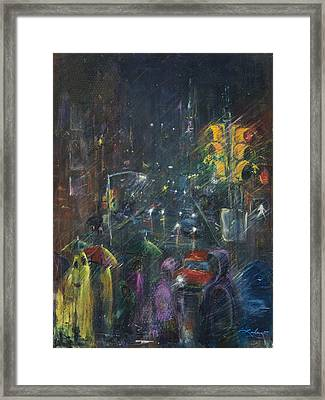 Reflections Of A Rainy Night Framed Print by Leela Payne