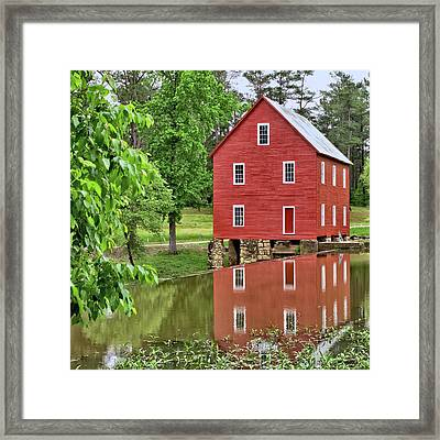 Reflections Of A Retired Grist Mill - Square Framed Print