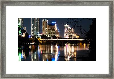 Reflections Of Austin Skyline In Lady Bird Lake At Night 04 Framed Print