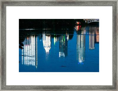 Reflections Of Austin Skyline In Lady Bird Lake At Night Framed Print by Jeff Kauffman