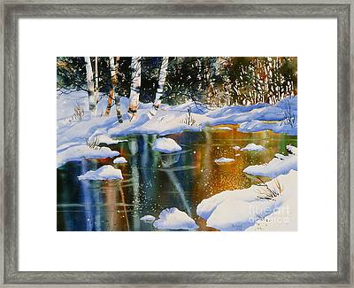 Reflections Of Birch Framed Print by Teresa Ascone