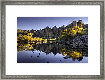 Reflections Of Fall Colors In The Salt River Framed Print