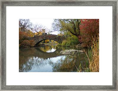 Reflections Of Gapstow Bridge Framed Print