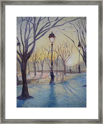 Reflections Of Lamp Post Dome Church, 2010 Oil On Canvas Framed Print