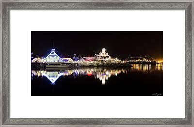 Reflections Of Rainbow Harbor Framed Print by Heidi Smith