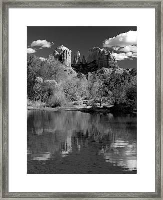 Reflections Of Sedona Black And White Framed Print by Joshua House