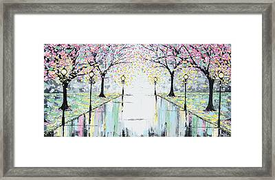 Reflections Of Springtime - Pink Cherry Trees Framed Print by Christine Krainock