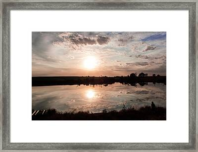 Reflections Of Sunset Framed Print by Dawn Romine