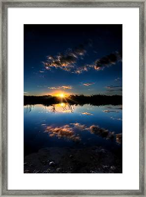 Reflections Of Sunset Framed Print by Mark Andrew Thomas