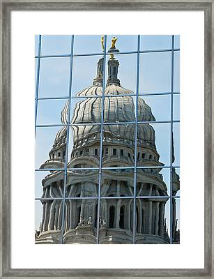 Reflections Of The Capitol Framed Print by Christi Kraft