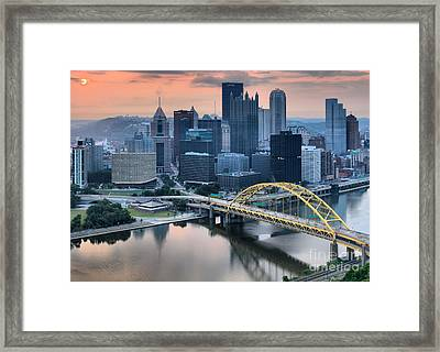 Reflections Of The Pittsburgh Skyine Framed Print