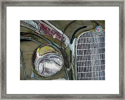 Reflections On 1931 Alfa Romeo Milano Framed Print by Anna Ruzsan