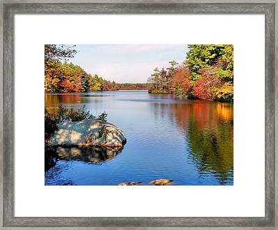 Reflections On A Fall Day Framed Print by Janice Drew