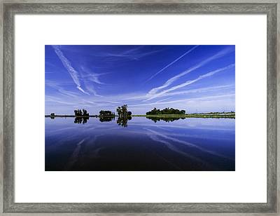 Reflections On A Rice Field Framed Print by Robert Woodward